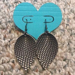 Gray Snakeskin Earrings